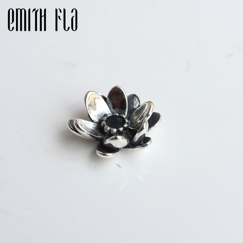 Emith Fla 100% Real 925 Sterling Silver Giant Lotus Charm Beads Fit Original European Brand Charm Troll Bracelet Authentic DIY