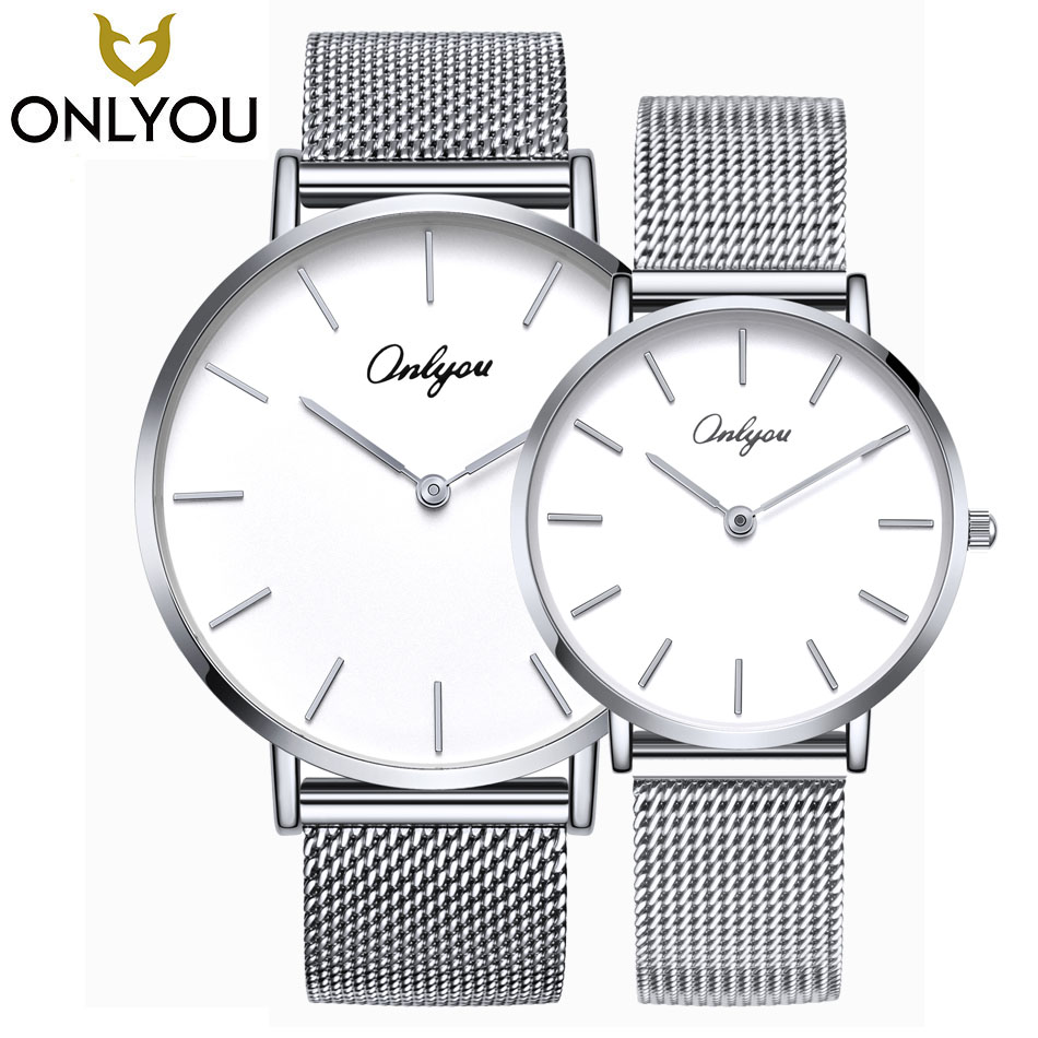 ONLYOU Lover Watches Ladies Analog Watch Women Gold Silver Casual Quartz Clock Men Mesh Belt Wristwatch Couple Trend Style Gift fashion couple queen king watches popular casual quartz women men watch lover s gift clock boys girls wristwatch