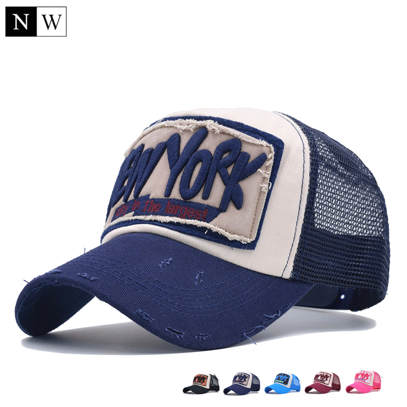 5 panel ny baseball cap with mesh brand snapback hat