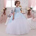 FG1004 Ball Gown Blue and White  Flower Girl Dresses Child Princess Brithday Dress 2017 Half Sleeve Girls First Communion Dress