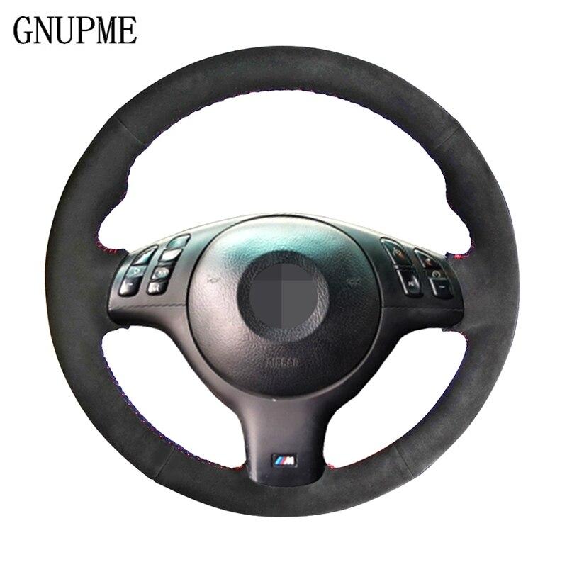 GNUPME DIY Cousu Main En Daim Noir Couverture De Volant de Voiture pour BMW E46 M3 E39 330i 540i 525i 530i 330Ci 2001-2003