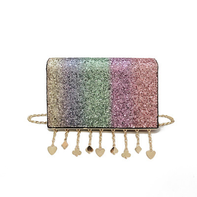 2018 Summer New Fashion Women Shoulder Bags PU Tassels Chain Sequins Rainbow Colourful Girls Flap Party Clutch Bag