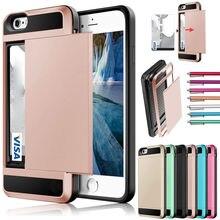 Shockproof Slim Hybrid Card Pocket Wallet Hard Back Phone Case Cover For Samsung iPhone 6 6S 7 8 Plus X 10
