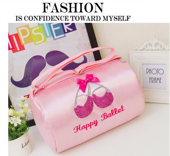 Free Shipping Embroidered Shine Sequin Ballet Shoe Dance Bag Lovely Waterproof Nylon Canvas Ballet Kids Dance Bag Crossbody Bag