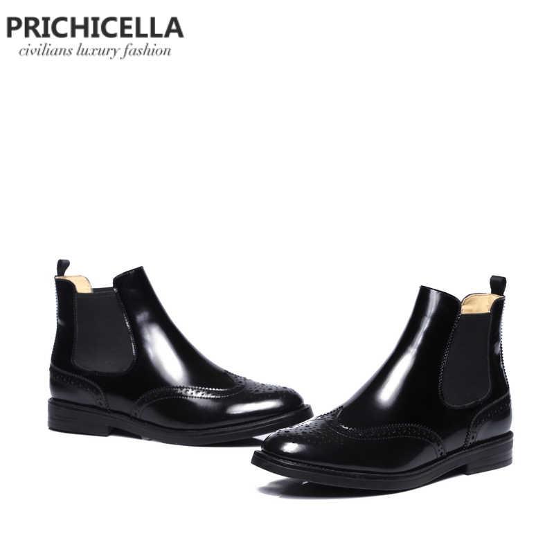 Pricicella/качественные ботинки «Челси» из натуральной кожи на плоской подошве; теплые зимние ботинки на меху без застежки; женская обувь с перфорацией типа «броги»