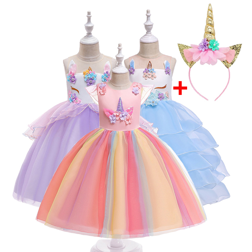 9d72dc059c8ed US $16.88  Fancy Kids Unicorn Rainbow Flowers Tutu Dresses Ruffle Flying  Sleeve for Girls Princess Dresses Birthday Theme Party Costumes-in Dresses  ...