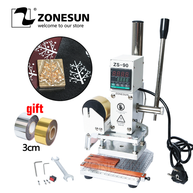 ZONESUN ZS90 Hot Foil Stamping Machine leather Wood Paper Branding Logo Marking Press Machine Leather Embossing Machine