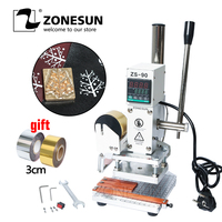 ZONESUN ZS90 Hot Foil Stamping Machine leather Wood Paper Branding Logo Marking Press Machine Leather Embossing Machine