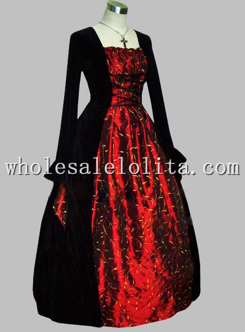 Freeshipping Long Sleeve Dress Gothic Black and Red Thai Silk Victorian Era Dress with Yellow Leaves Print