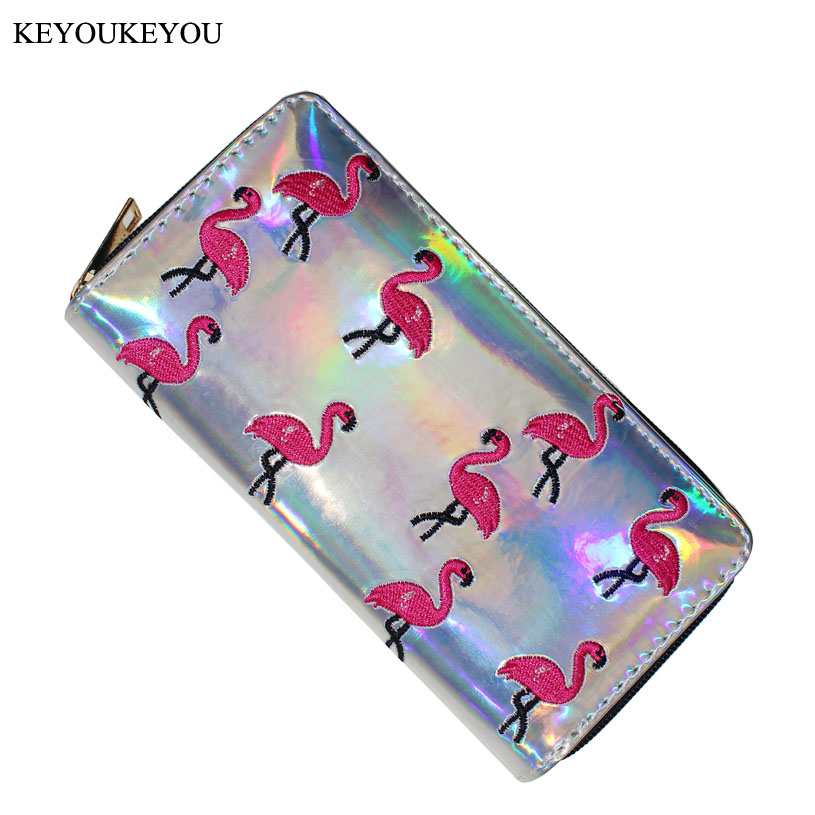 Long Womens Wallets And Pures Zipper PU Leather Laser Flamingo Embroidered Lady Clutch Purse Cell Phone Credit Card Women Wallet