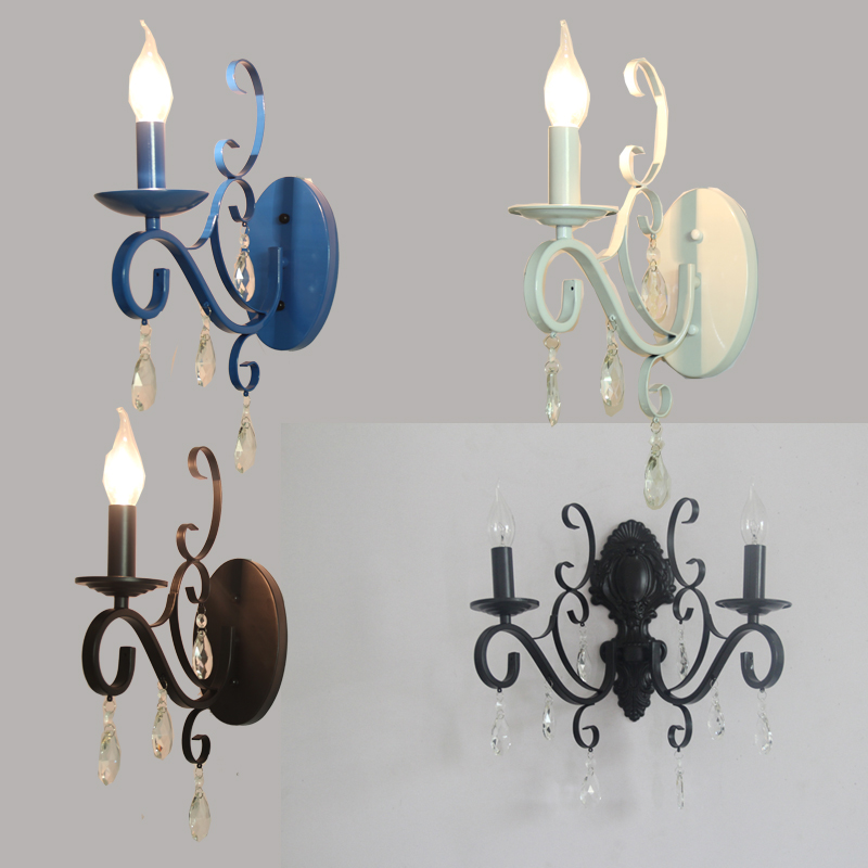 European antique iron small cover wall lamp village personality creative wall lamp retro iron lighting personality creative rope restaurant wall light simple pastoral iron retro wall lamp double section turner lighting