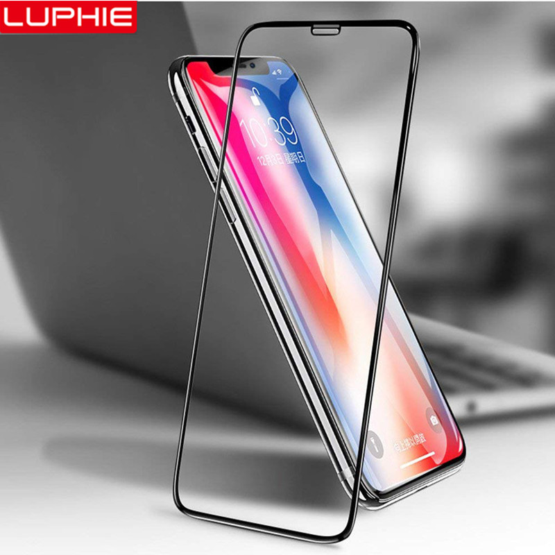 LUPHIE 6D Full Glue Cover Tempered Glass For IPhone X XS Max XR Screen Protector For IPhone 8 7 6S 6 Plus Protective Glass Film