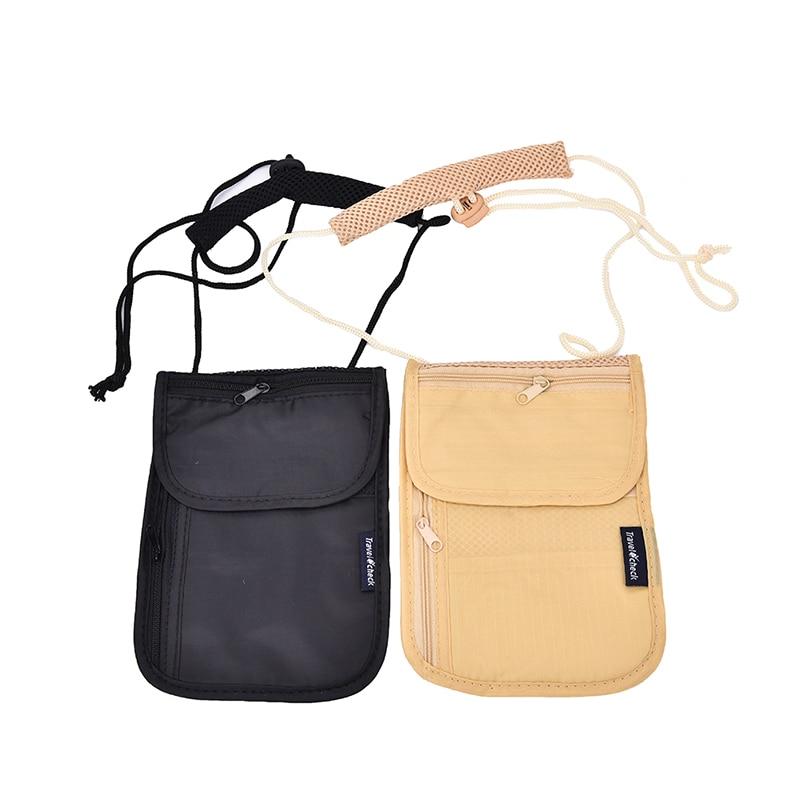 Unisex Money Purse Neck Purse Wallet Women Travel Storage Bag Money Coin Cards Passport Holder Neck Tickets Bag Pouch