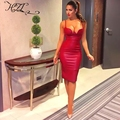 2016 new women Deep V Dress Cleavage In Red Wine Rose Naked Blue Dresses Sleeveless Kim Gold Leather Black PU Ladies Kardashian
