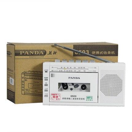 Gấu Trúc 6503 FM Radio Hai Băng Tần USB / TF Băng Phiên Mã Máy Ghi BĂNG BĂNG Ghi Âm Tặng Đài Phát Thanh Miễn Phí Vận Chuyển
