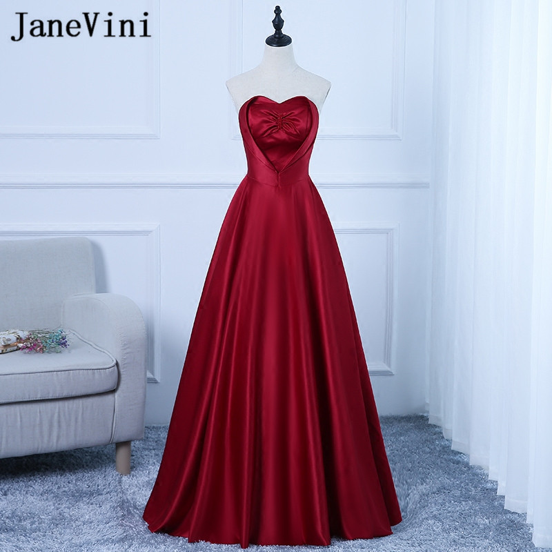 JaneVini Vestidos Chic Sweetheart Mother Of Bride Dress 2018 Satin A Line Big Bow Burgundy Evening Gowns Floor Length Plus Size