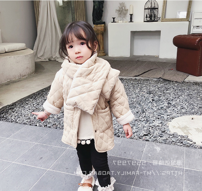 Image 2 - Girls Winter fashion polar fleece thicken single breasted long coats with neckerchief kids warm long jackets outwear clothing-in Down & Parkas from Mother & Kids
