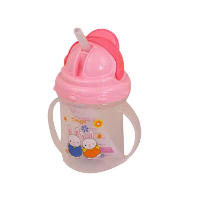 Купить с кэшбэком Baby Cute Bottle Newborn PP Feeding Cartoon Rabbit Straw Cup  With Handles Drinking Milk Feeding Bottle Sippy Cups For Kids Baby