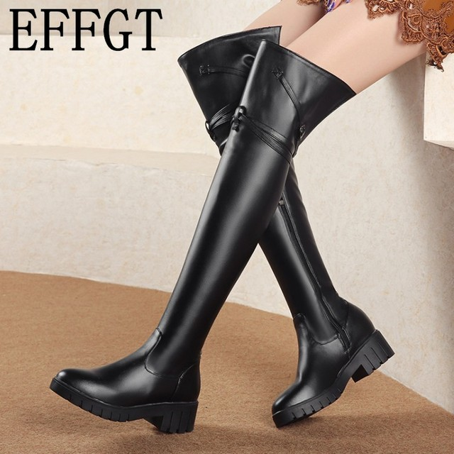 Effgt 2019 Over Knee Boots Winter Fur Fashion Women Boots Soft