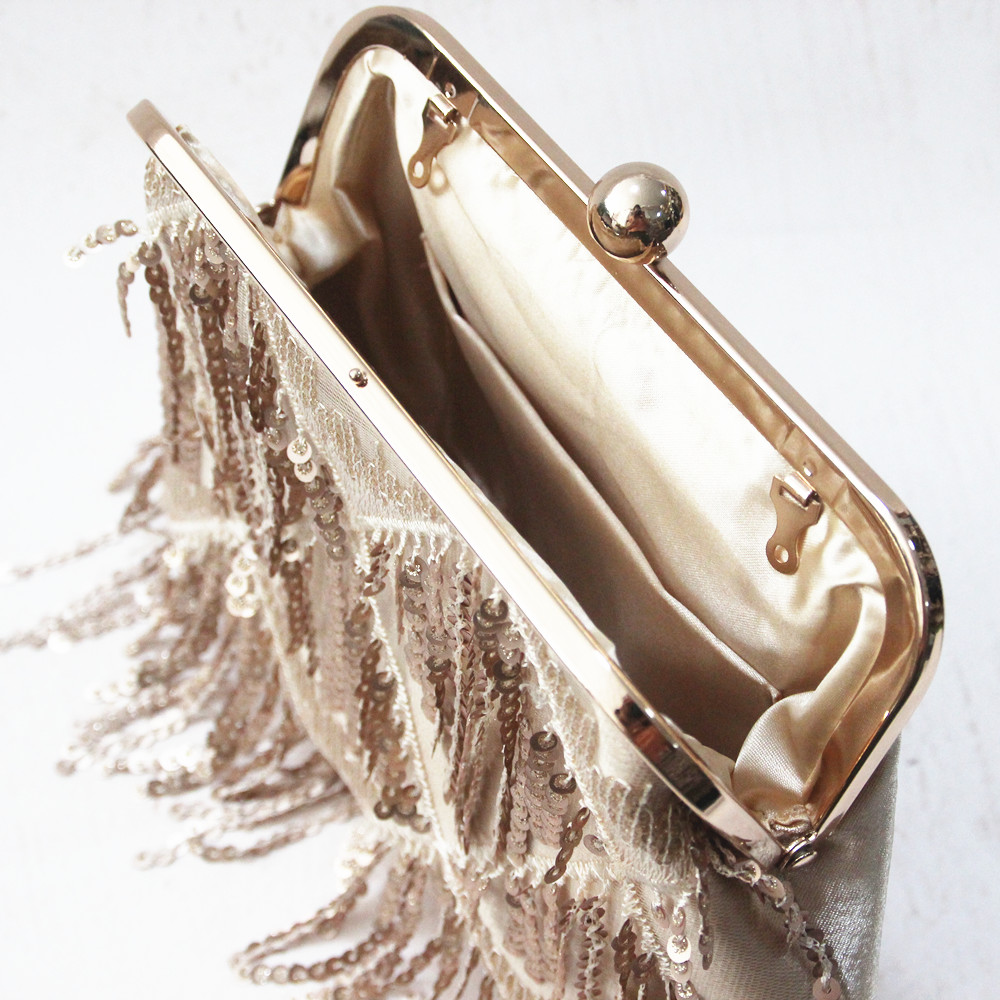 Woman New Wallet 2018 Brand Fashion Solid Tassel Sequin Gold Clip Handbag  Vintage Pearl Stylish EveningBag Wedding Casual Clutch-in Top-Handle Bags  from ... a1f91870d837