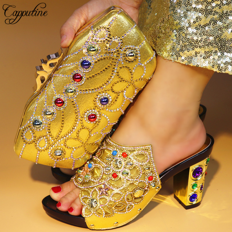 Capputine 2018 High Quality Shoes With Matching Bags Rhinestones African Shoes And Bags Set For Wedding Dress Free Shipping yh01 hot sale african matching shoes and bag with stone fashion dress shoes and bags free shipping