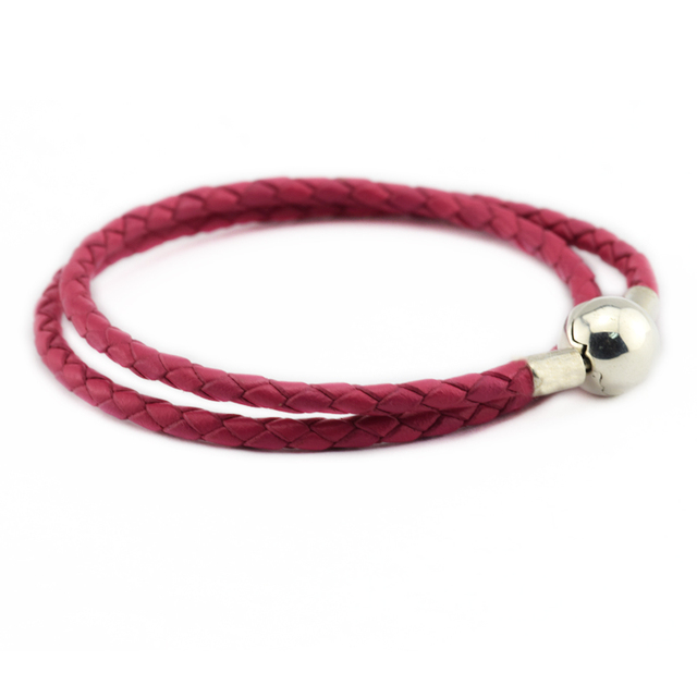 Honeysuckle Pink Leather Bracelets 925 Sterling Silver Jewelry Free Shipping