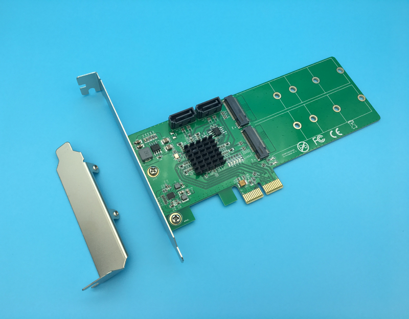 PCI-Express to 2x M.2 NGFF + 2x SATA 3.0 Hardware SSD RAID Card Supports NCQ Raid 0 1 10 8 ports sata 3 0 6gb pci express card ncq