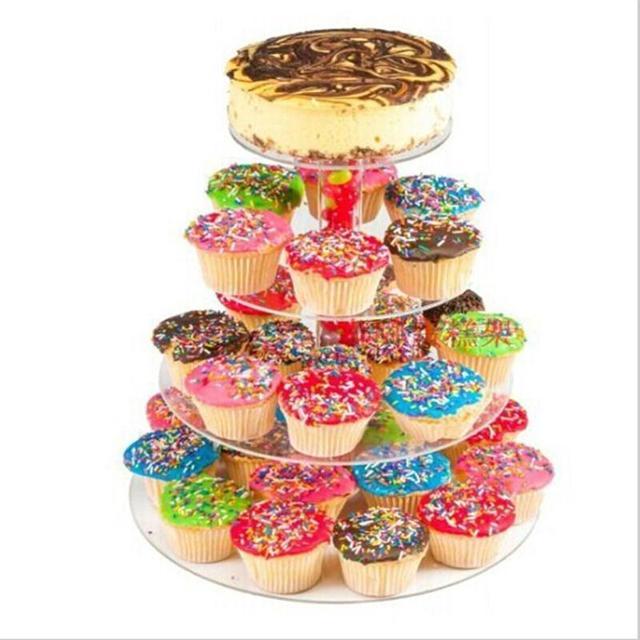 4 Layers Round Acrylic Cake Cupcake Display Stand Tray For Birthday Anniversary Wedding Transparent