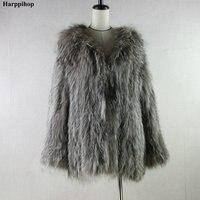 В наличии Природный Silver Fox Мех животных вязать одежду Для женщин пальто из основной коллекции Натуральный мех пальто вязаный Мех животных л