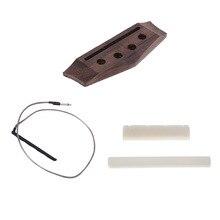 4 String Ukulele Rosewood Bridge+Bone Saddle Nut+Undersaddle Piezo Pickup for Uke Guitar Parts