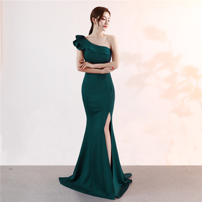 It's Yiiya One-shoulder Evening dress Sleeveless Elegant Floor-length Mermaid long Party Gowns Zipper back Prom dresses C092