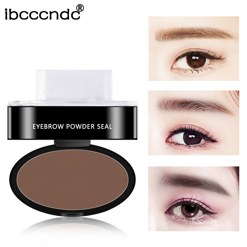 3 Colors Eyebrow Powder Seal Eyebrow Shadow Set Waterproof Eyebrow Stamp Straight Curved Shape Brow Stamp Powder Palette Stamper