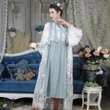 Outono Mulheres de Algodão Bordado Conjuntos de Rob 2 Peças Camisolas de Renda Branca de Manga Longa Retro Cor Sólida Pijamas Home Wear 063