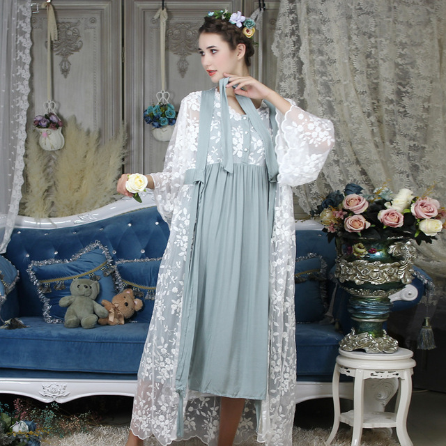 ฤดูใบไม้ร่วงผ้าฝ้ายผู้หญิงปัก Rob ชุดสีขาว 2 ชิ้น Lace Nightgowns แขนยาว Retro สีทึบชุดนอนสวมใส่ 063