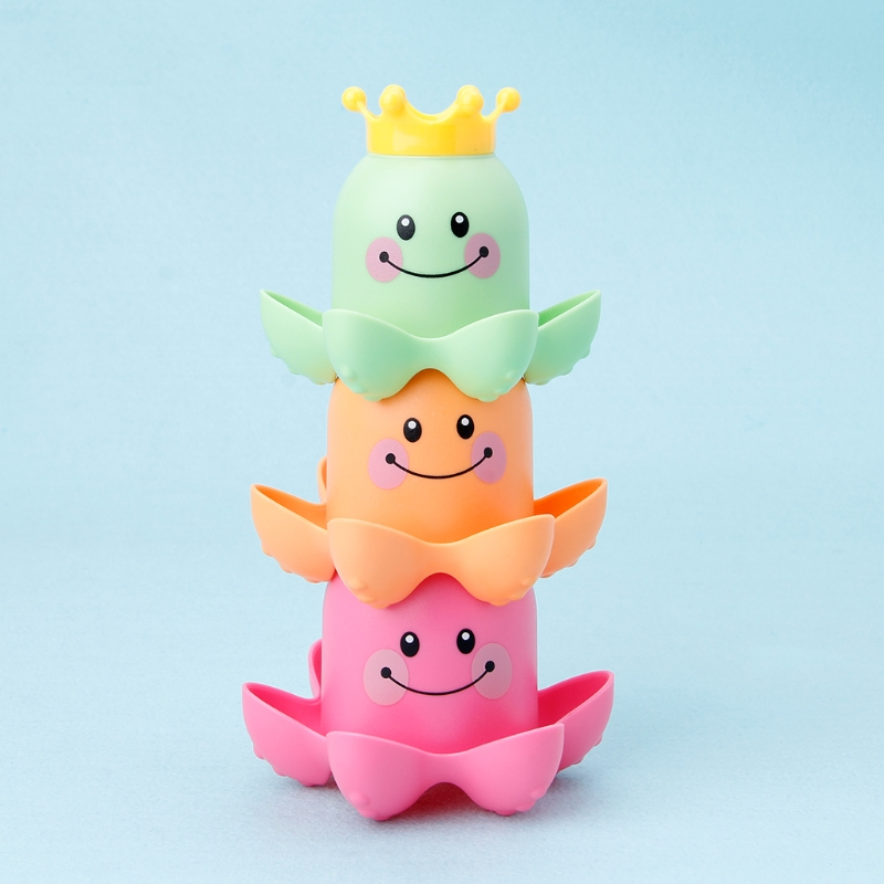 2018 New 3Pcs Octopus Shape Cup Bath Toy Soft Stacking Baby Toys Kids Toy Play Water Pool