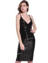 PrettyGuide Women Sexy Glitter Geometric Sequined Deep V Neck Slim Party Dress Bodycon Clubwear
