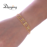 Duoying Custom Letter Bracelets Gold Color With Name Personalized Uppercase Letter Love Bracelets Metal Copper Jewelry