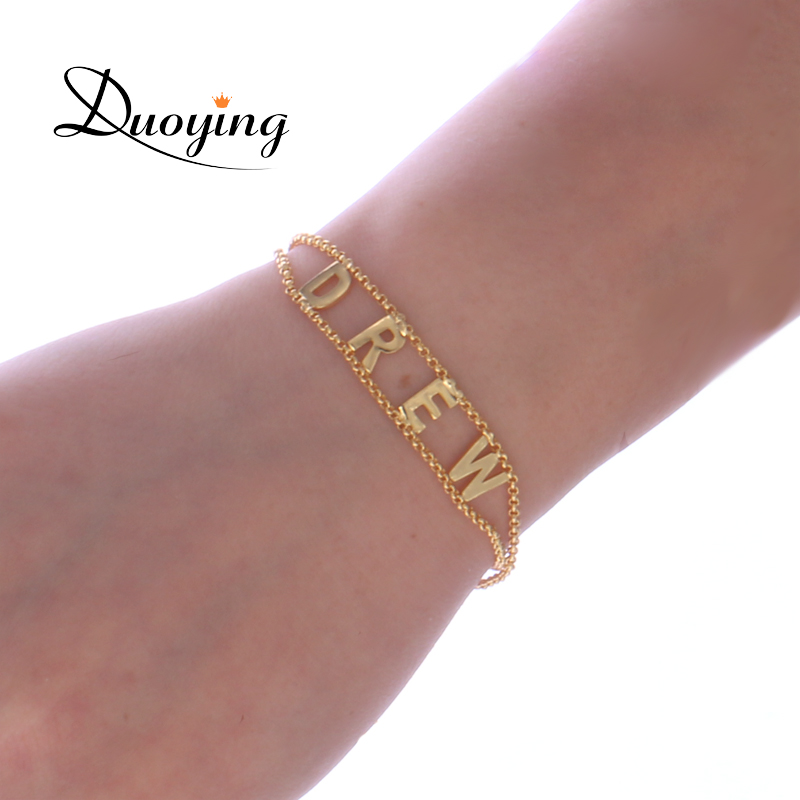 Duoying Double Chain link bracelet DIY Custom Capital Letter Bracelets Personalized Jewelry Initials Name Bracelet new for Etsy