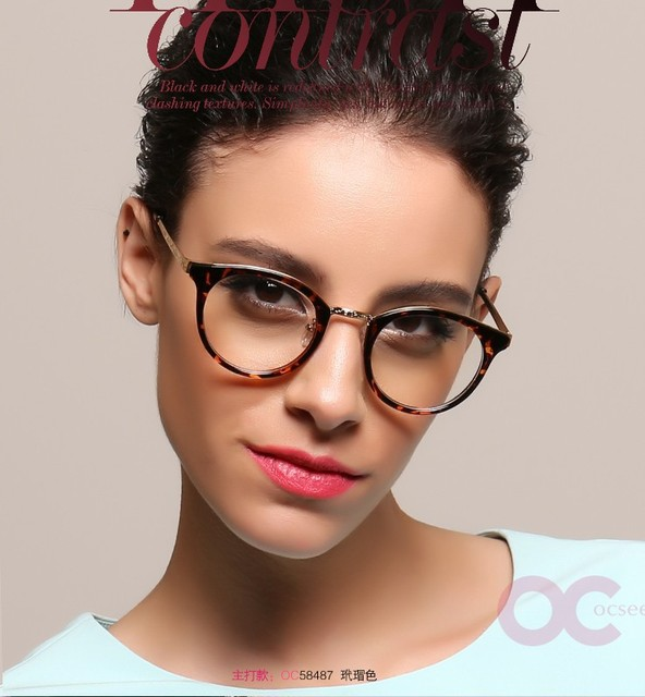 Rodada Do Vintage Vidros Ópticos Quadro Moda Feminina Óculos Frames