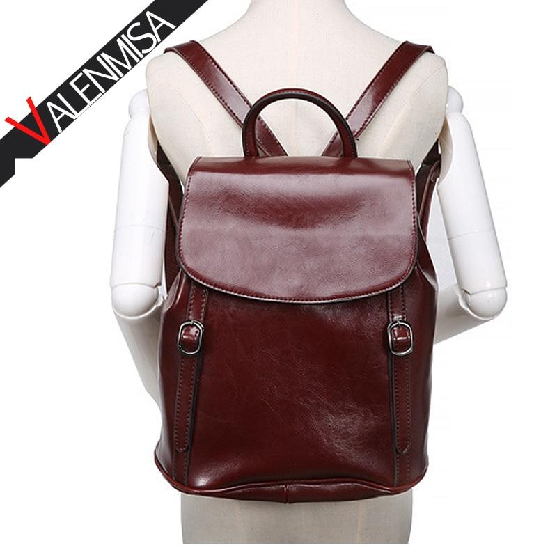 VALENMISA Brand Vintage Genuine Leather Backpack Teenage Girls Causal Daypack School Bags Designer Women'S Large Travel Bags