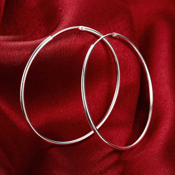 100% 925 Sterling Silver Hoop Earring For Women 50MM Big Round Circle Earrings Jewelry Gift 1