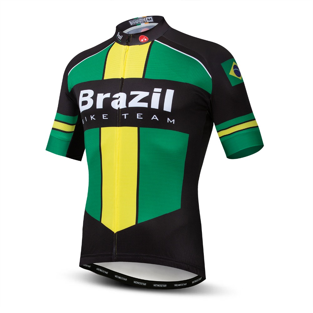 2019 Cycling Jersey Men's Bike Jerseys Mountain MTB Shirts Short Sleeve Brazil Pro Team Maillot Ciclismo Top Summer Wear Road