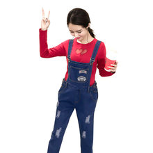 Maternity Clothing Pants Spring Autumn Cotton Plus Size Overalls Pregnant Women Large Size Suspender Trousers Jeans for pregnant(China)