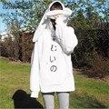 Hit Da Orelha de Coelho Cashmere Mulheres Camisola de Manga Comprida Com Capuz Carta Branca Impressão Hoodies 2016 Novo Estilo Instituto Treino