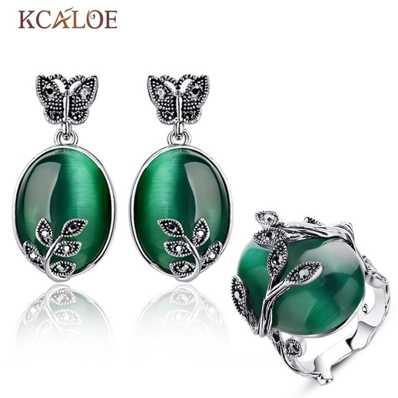 KCALOE Brincos Anéis Para As Mulheres Do Vintage Conjunto de Jóias Verde Grande Opala Pedra de Cristal Preto Conjuntos de Jóias de Strass Brinco Grande