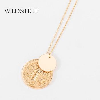 432893492e6e Salvaje y libre nueva Virgen María colgante redondo collar color dorado  religioso Jesús lentejuelas moneda pendientes