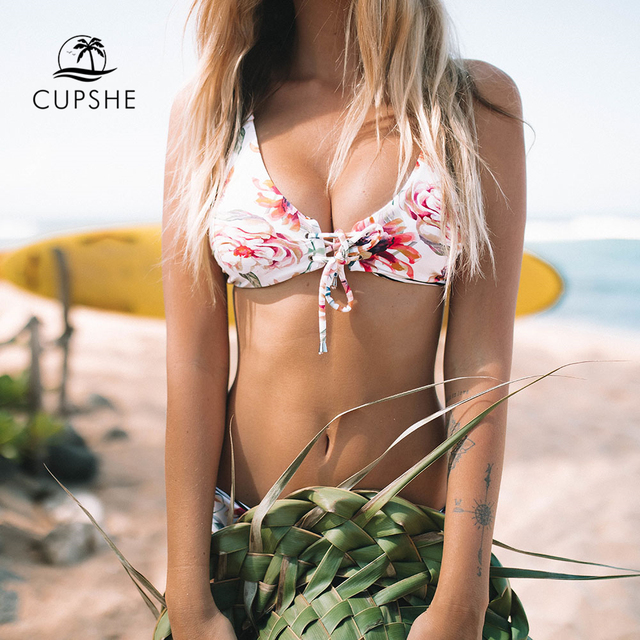 CUPSHE Floral Print And Striped Reversible Bikini Set Women Lace Up Two Pieces Swimwear 2020 Beach Bathing Suits Swimsuits 3