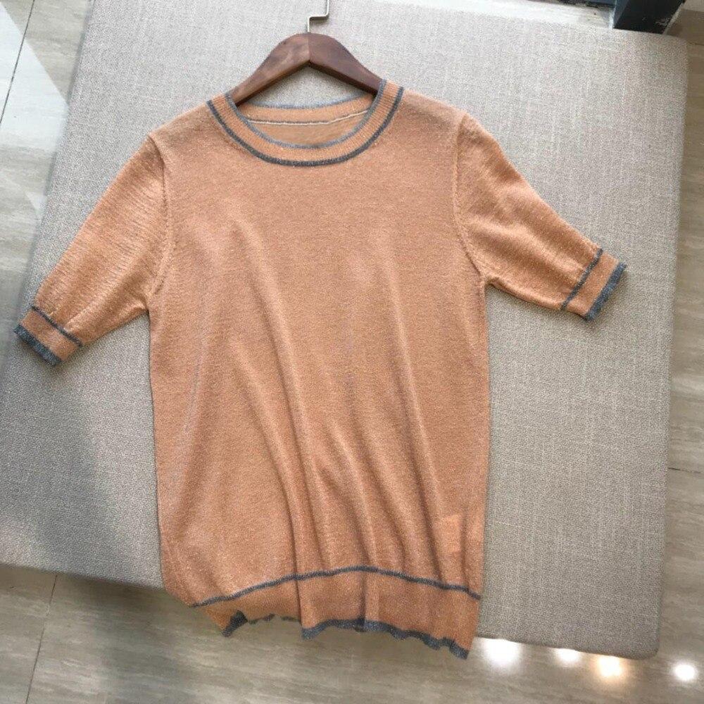 2019 new ladies fashion round neck short sleeved sweater 0429