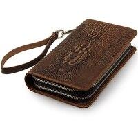 2017 Men Large Wallets Genuine Leather Vintage Luxury Long 3D Alligator Men S Clutch Bags Male
