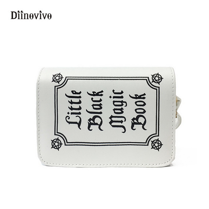DIINOVIVO Letter Vintage Book Shape Clutch Bag Rock Designer Female Shoulder Bag Multifunction Lady Mini Messenger Bag WHDV0158 vintage fashion letter book shape pu purse daily clutch bag ladies shoulder bag chain handbag crossbody mini messenger bag